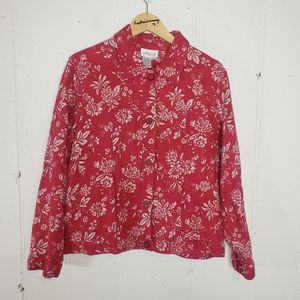 Coldwater Creek 2X red/white floral jacket